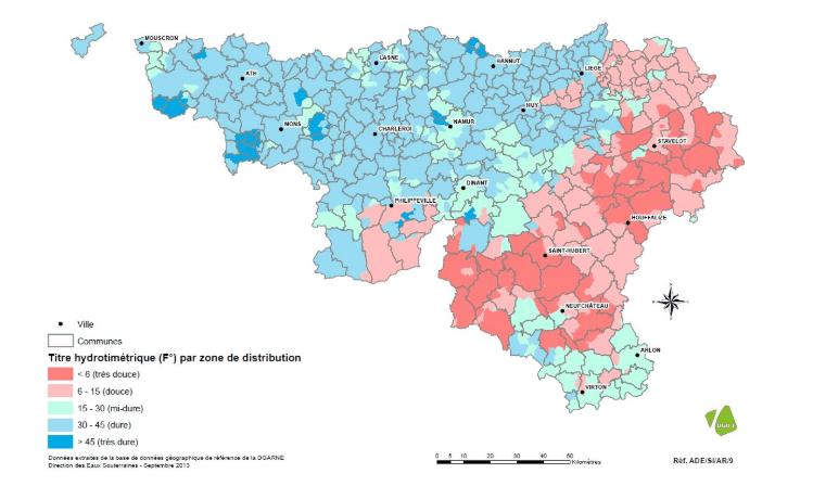 Test dureté de l'eau par commune en Région wallonne